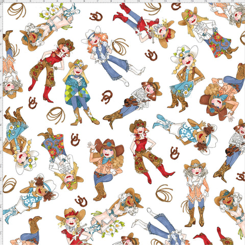 Tossed Cowgirls White Fabric