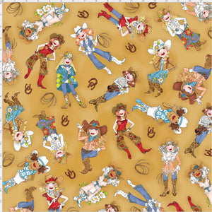 Tossed Cowgirls Tan Fabric