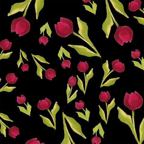 Tulip Toss Black Fabric
