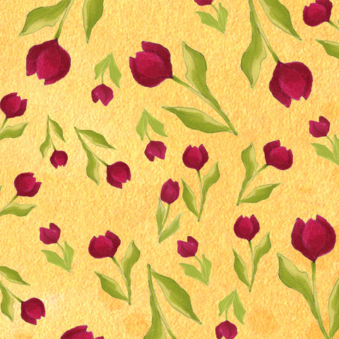 Tulip Toss Yellow Fabric