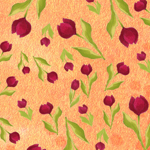 Tulip Toss Orange Fabric