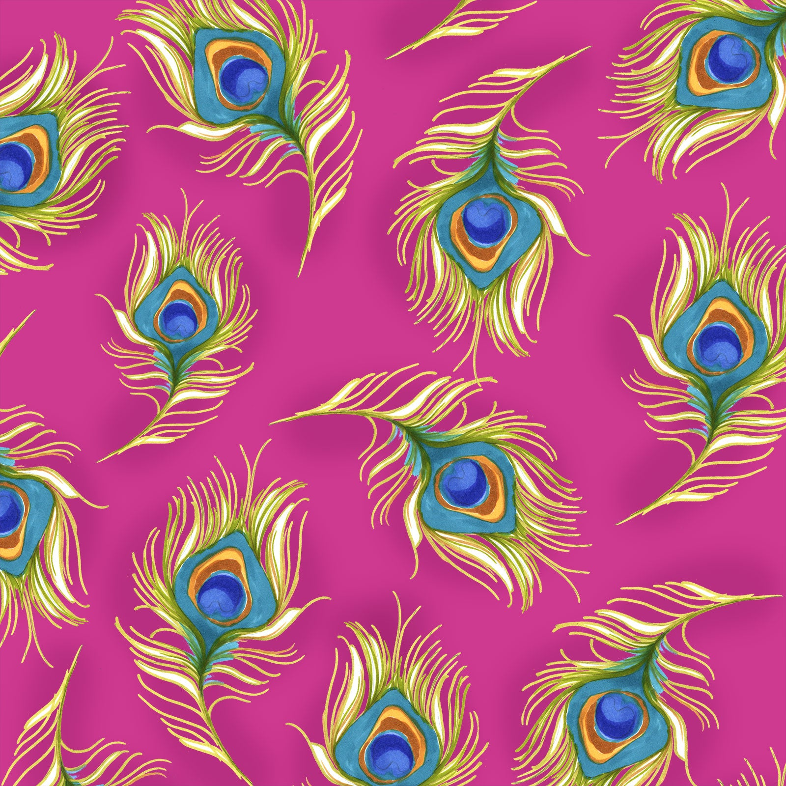 Pretty Peacock Cerise Fabric