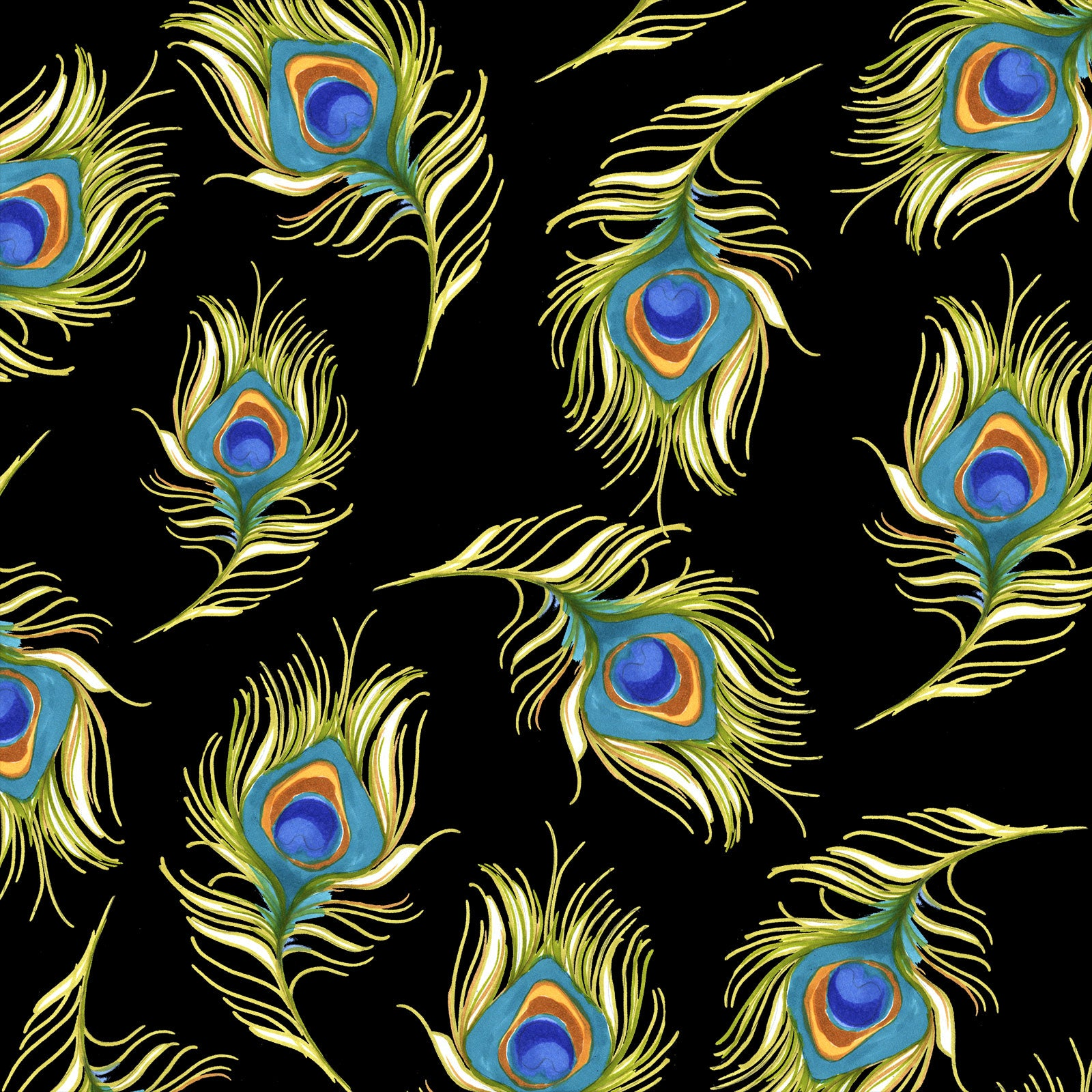 Pretty Peacock Black Fabric
