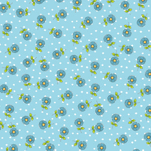 Daisy Dots Turquoise Fabric