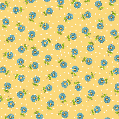 Daisy Dots Yellow Fabric