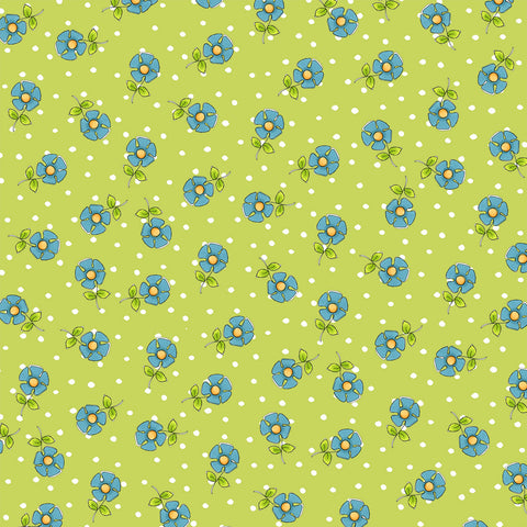 Daisy Dots Green Fabric