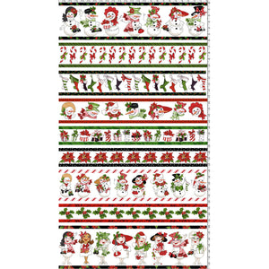 Snow Lady Borders White Fabric Panel