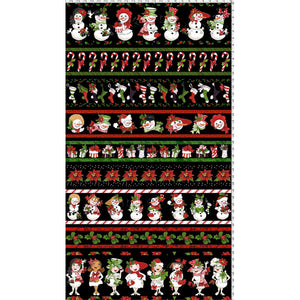 Snow Lady Borders Black Fabric Panel