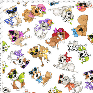 Tossed Go Doggies White Fabric Yard