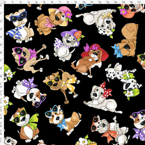 Tossed Go Doggies Black Fabric