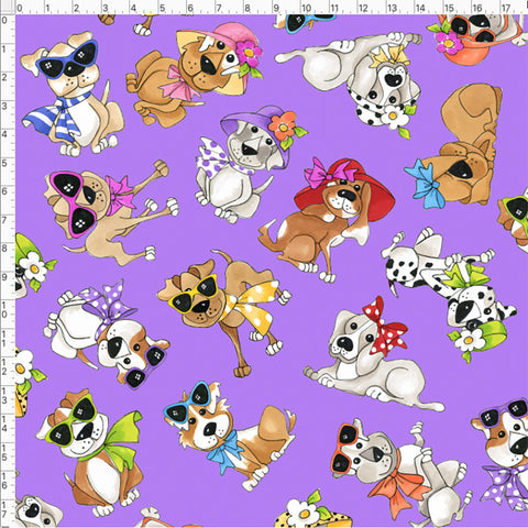 Tossed Go Doggies Purple Fabric