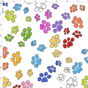 Go Paws White Fabric
