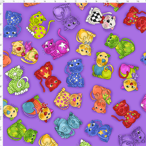 Tossed Happy Cats Purple Fabric