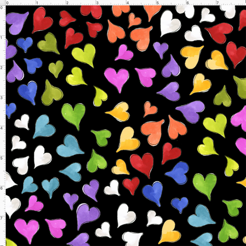 Happy Hearts Black Fabric