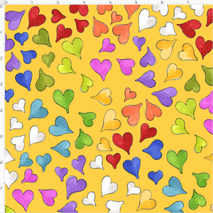 Happy Hearts Yellow Fabric