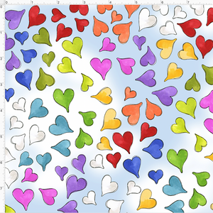 Happy Hearts Blue Sky Fabric