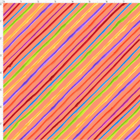 Quirky Bias Stripe Orange Fabric
