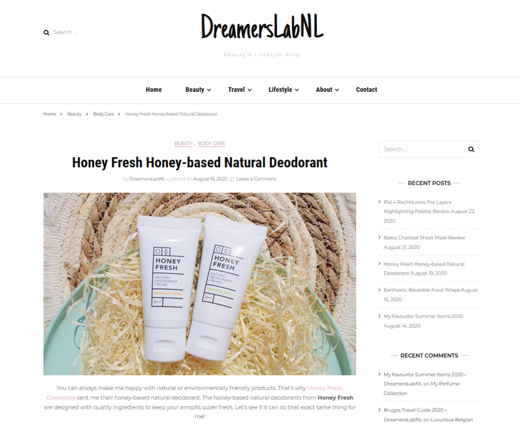 Check out the latest review of our natural deodorant from DreamersLabNL.