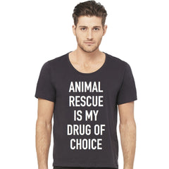 Animal Rescue Is My Drug Of Choice Men's Wide Neck Grey T-Shirt Adopt Don't Shop