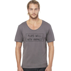 Plays Well With Animals Men's Wide Neck Tee