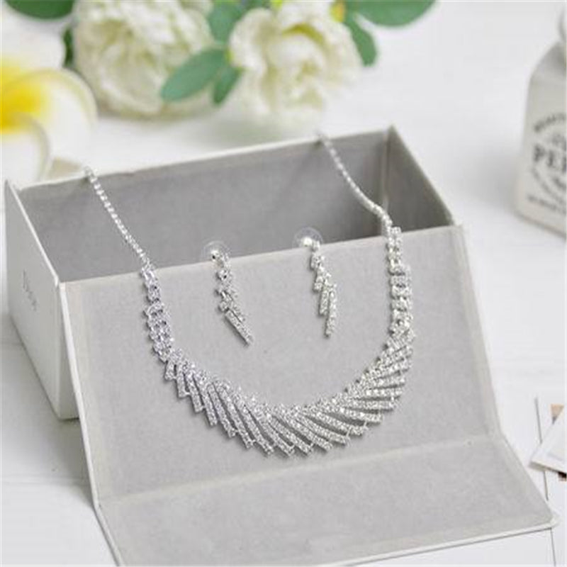 Silver Tone Crystal Tennis Choker Necklace Set Earrings Factory