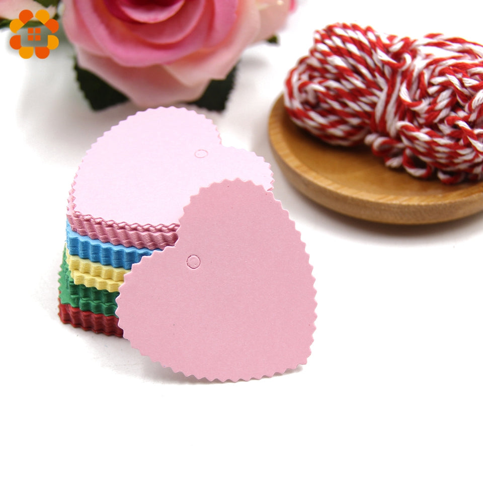 100PCS Colorful Paper Tags with Rope Love Heart Paper Card Tags ...