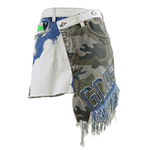 Load image into Gallery viewer, GCDS Camo Asymmetric Mini Skirt