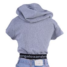 Load image into Gallery viewer, Alexander Wang Cropped Logo-Band Hoodie