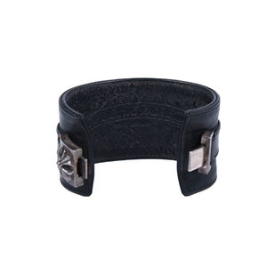 Chrome Hearts Pyramid Cross Leather Cuff Bracelet