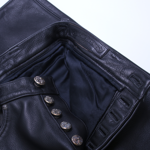 Vintage Chrome Hearts Leather Fleur Pants