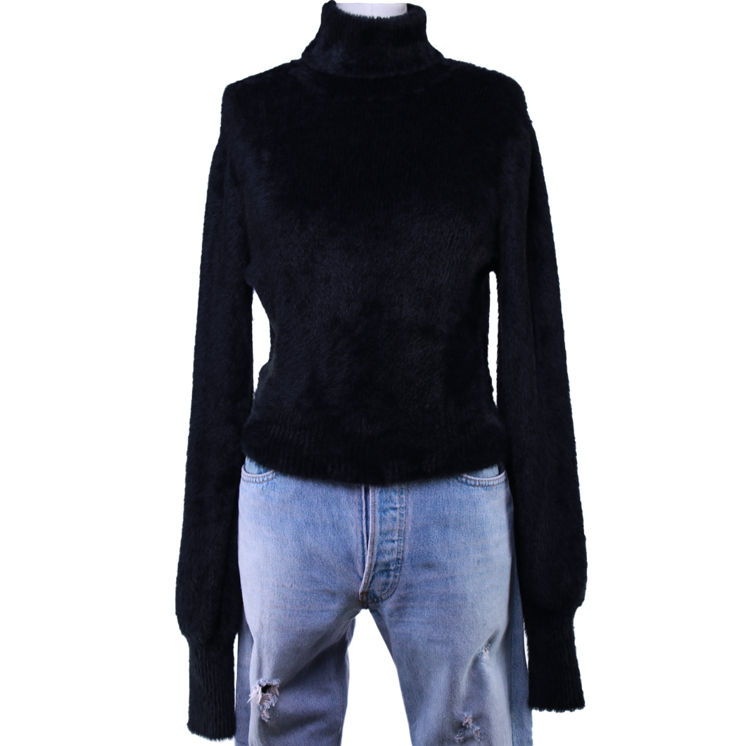 For Love and Lemons Black Myriam Mock Neck Sweater
