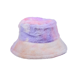 Fuzzy Bucket Hat - Pink Multi