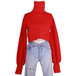 Orseund Iris Chunky Knit Turtleneck Sweater - Red