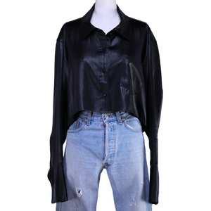 T by Alexander Wang Cropped Button-Up Shirt