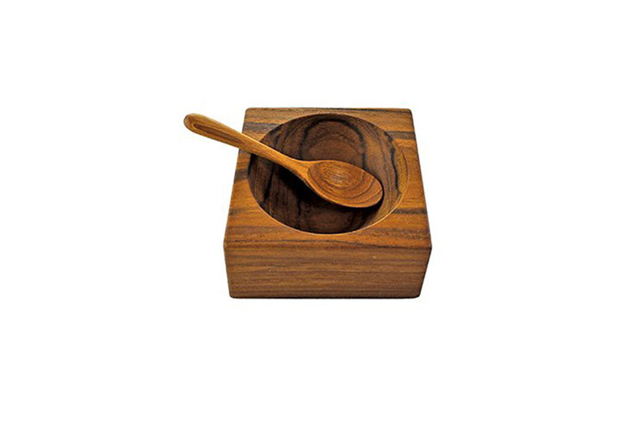 Teak Spice Cellar with Spoon
