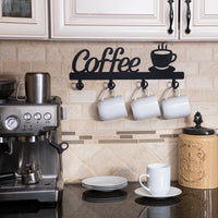 Coffee Mug Holder Wall Mounted Coffee Bar Decor Sign Coffee Cup Rack Hanging