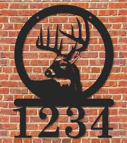 Deer Buck Round Silhouette Address Sign Metal with Custom Address numbers