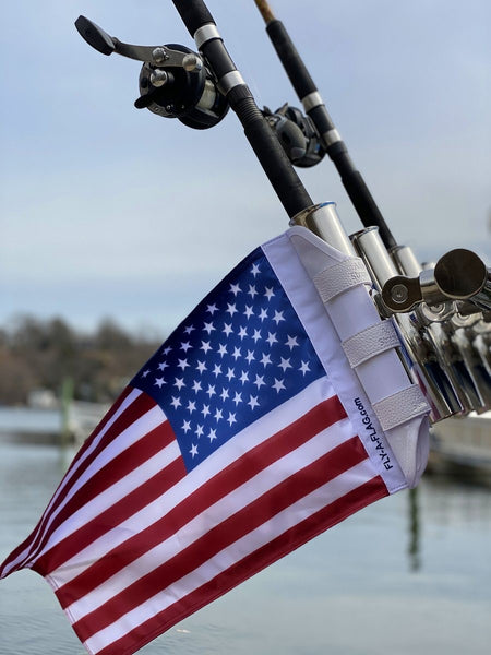 Boat Flag American USA Rod Holder Mounted