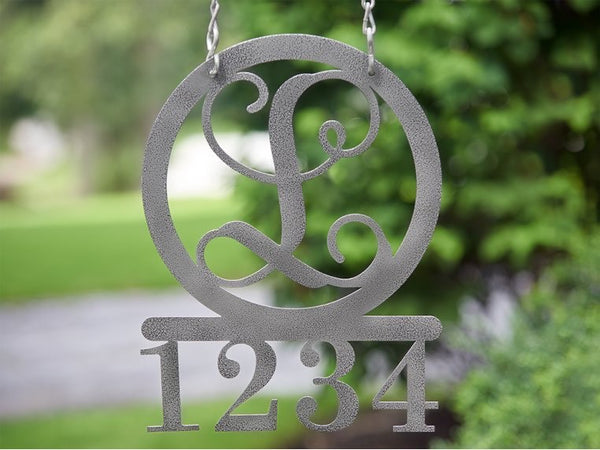 Personalized Metal Address Sign with Monogram Custom Made