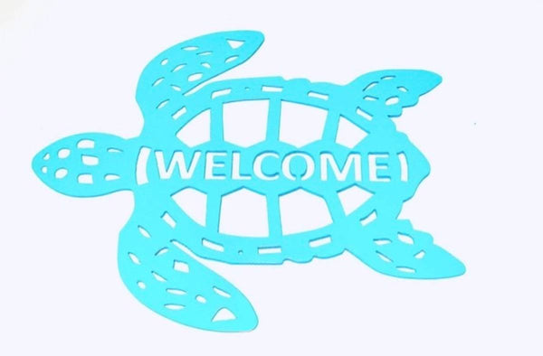 Sea Turtle Welcome Sign Metal Beach House Nautical Decor