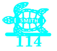 Sea Turtle Nautical Address Sign Custom Made with Name and Street number Beach House