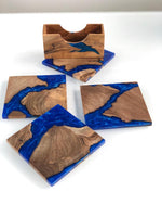 Coaster set with matching holder Wood with Blue Epoxy Resin River