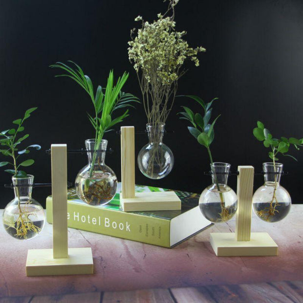 Wooden Frame Glass Vase - Home Office Decors