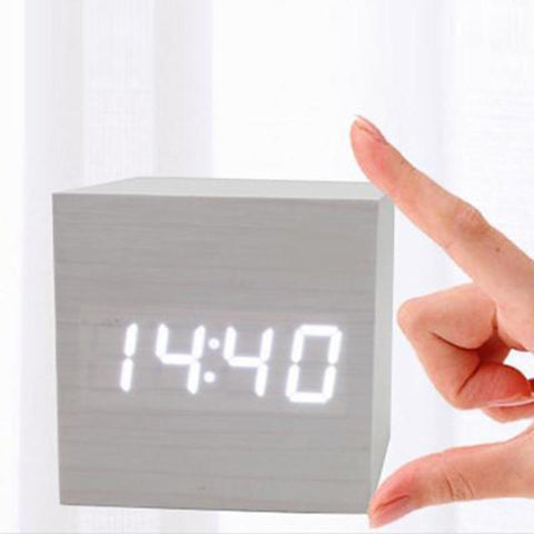 Wood Digital LED Desk Alarm Clock - Home Office Decors