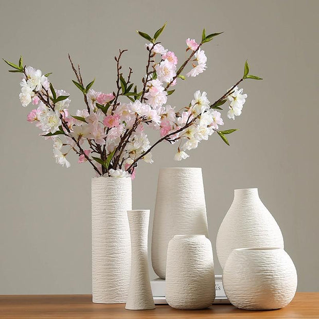 White Vase Ceramic Vase Home Decoration - Home Office Decors