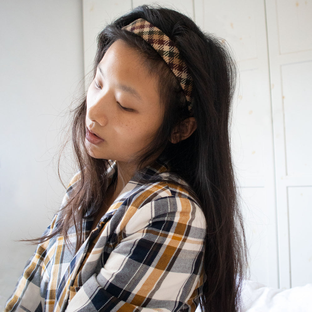 Clementine Headband in Autumn Check