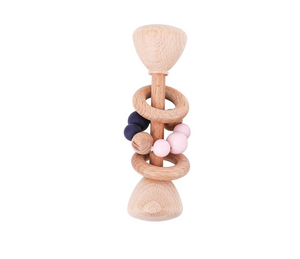 Load image into Gallery viewer, Beech Wood Baby Teething Rattle
