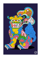 Shisa Dog - right with open mouth (A3 & A2 sizes)