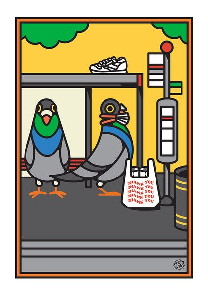 A3 Pigeons waiting for the Bus (Medium)