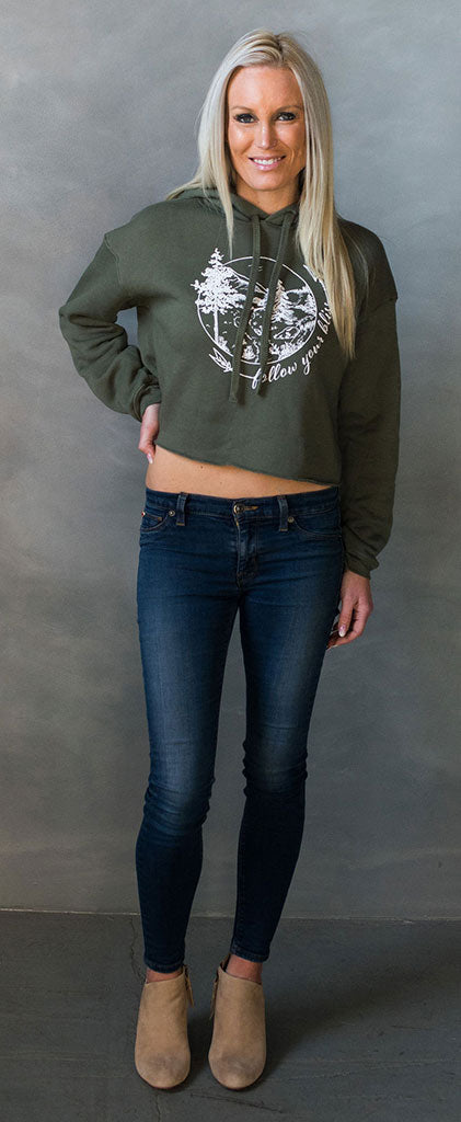 Lolly Dagger Follow Your Bliss Adventure Path Green Hoodie Model